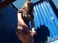 Bc1560# Another beautiful young woman in leopard dress. She changed her panties without removing a