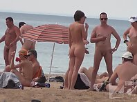 Nu1317# Group of nudists sunbathe on a nude beach. Great shots nude beach voyeur close-up. Lucky s