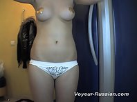 Pv508# Blonde with an elastic tanned body undressed and going to sunbathe. Behind the mirror is a hi