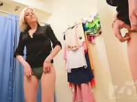 Sp2645# The next visitor to the fitting room was a slender blonde. She immediately took off her dres
