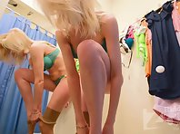 Sp2654# The girl spun naked for some time in front of the mirror. She then donned her green lingerie