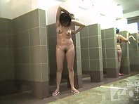 Sh2012# New women come into the shower, some with big tits. We can see the whole shower room and all