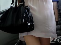 Up1544# Girl in a broad shorts and white panties! Excellent hidden shooting!