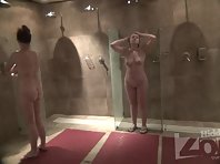 Sh1678# Two girls are washing in the shower. We can look at their naked bodies from all sides. A rea