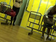 Lo1449# Hidden camera in the women's locker room pool. Pregnant woman undressing right in front of