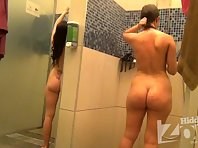 Sh1507# Again we have two girls. Both withdrew their swimsuits and wash the shower. They do not re
