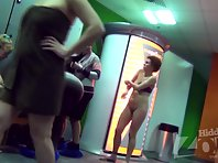 Lo1528# Several women take off their clothes in front of the lens Locker room voyeur cam. Then the