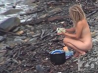 Nu1548# Several girls engaged on the shore the affairs under the supervision Nude beach voyeur cam