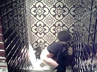 Wc2529# A hidden camera in the toilet of the cafe. View from two cameras. The girl in gray panties p