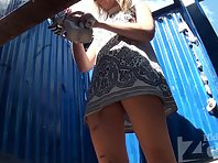 Bc1565# Young sexy blonde long wiping her pussy, a very pretty sight. Then took off her dress and