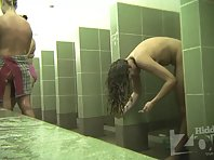 Sh2037# Our hidden camera shoots several booths at the same time. Women replace each other in them a