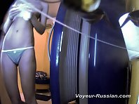 Pv418# Tanned blond in blue panties undressed and going to sunbathe. Our hidden camera behind the