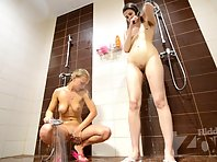 Sh1631# Girls wash their pussy. We have clearly seen this exciting process. Their wet vaginas are be