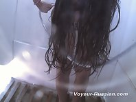 Pv207# Young tanned girl taking a shower. Excellent model for filming with a hidden camera. Beaut