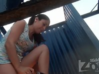 Bc1971# Pretty brunette undresses and puts on a swimsuit. Shaved pussy and beautiful tits closeup. A