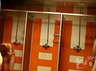 Sh1125# In this picture from hidden cam shower a few women move in the shower. For a variety of ti