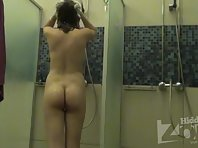 Sh1452# Young girl washes in the shower. Her slim figure, firm tits and pussy shaggy. Youth and be