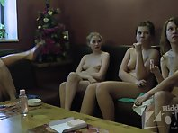 Lo1591# Girls continue to communicate, Locker room voyeur cam continues secretly filmed them. The