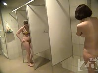 Sh1812# Some women go into the shower in swimsuits and remove them. Perhaps they are afraid of a hid