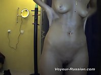 Pv634# Hidden camera in the solarium. Tanned woman with a smooth body completely undressed and sprea