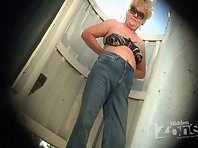 Bc1641# Another elderly aunt is thick with fat boobs. Beach cabin voyeur for fans of older and thi