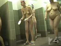 Sh2025# For some time we observe three women in the shower, then the camera switches to the general