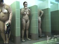 Sh2028# All the booths are occupied, we are watching all the women in the shower at once. The younge