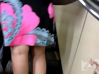 Up1952# Tanned brunette in a short dress. Plump girl with big ass in white panties. Our operator w