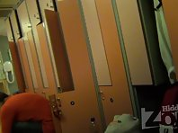 Lo1424# Our locker room voyeur cam filmed a young beautiful girl. She dresses up before the fitnes