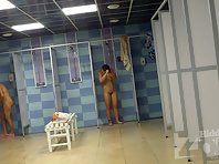 Sh1386# Two women stand in the shower. Their naked bodies are perfect under running water. At the