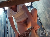 Bc1681# Slightly older woman - for fans. You can well see her bushy pussy and tits. beach cabin vo