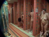 Sh999# Three women take a shower, their bodies are so tempting being sprayed with water. You can