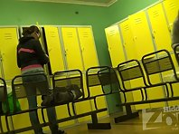 Lo1933# Finally, a young beautiful girl appeared in the locker room. We patiently watch her undress.