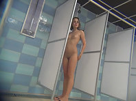 Hidden camera recorded the beauty with smooth body in the shower.
