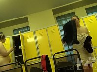 Lo1388# In this clip locker room voyeur cam shot of two women - one thick, the other is normal and