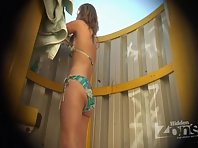 Bc1609# Young beautiful blonde removes her green bikini. First bra, under which the wonderful tits