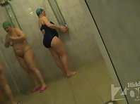 Sh919# Women wash in the shower after a workout, and demonstrates the us her big ass and tits!