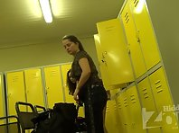 Lo1386# locker room voyeur cam shoots two women in the locker room. They slowly take off their clo