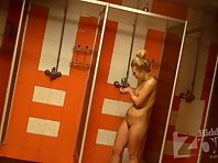 Sh1147# Young tanned blonde takes a shower after a workout. Small tits and shaved pussy. Excellent