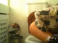 Wc2956# A woman in white panties pee standing. View from two cameras. Good shots from the rear camer
