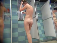 Voyeur naked girl in the shower.