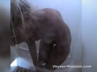 Pv446# Tanned blond woman slowly removed her swimsuit and taking a shower. Our cameraman filmed clos