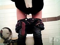 Wc2651# The girl with a posh ass in gray panties pissed sitting. View from two cameras. Excellent sh