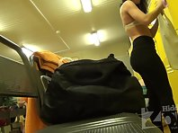 Lo1345# A young girl undressing in front of a hidden locker room voyeur cam and she is stay in pan