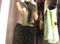 Sp1842# Young chick came into the store to choose underwear. She does not know that the set dressi