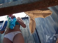 Bc1689# This woman for a long time did not remove her white panties and our operator beach cabin v