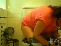 Wc3022# A brunette in white panties pee standing. View from two cameras. Good shots from the rear ca