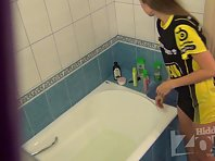 Sp1582# A young girl living in the same flat with his brother and he set in the bathroom amateur s