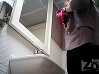 Wc2234# Fat woman in black panties pee standing up. Our cameraman filmed in the girls toilets hidd
