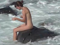 Nu2201# The beauty went swimming. A naked body in sea water looks very beautiful. You can admire suc